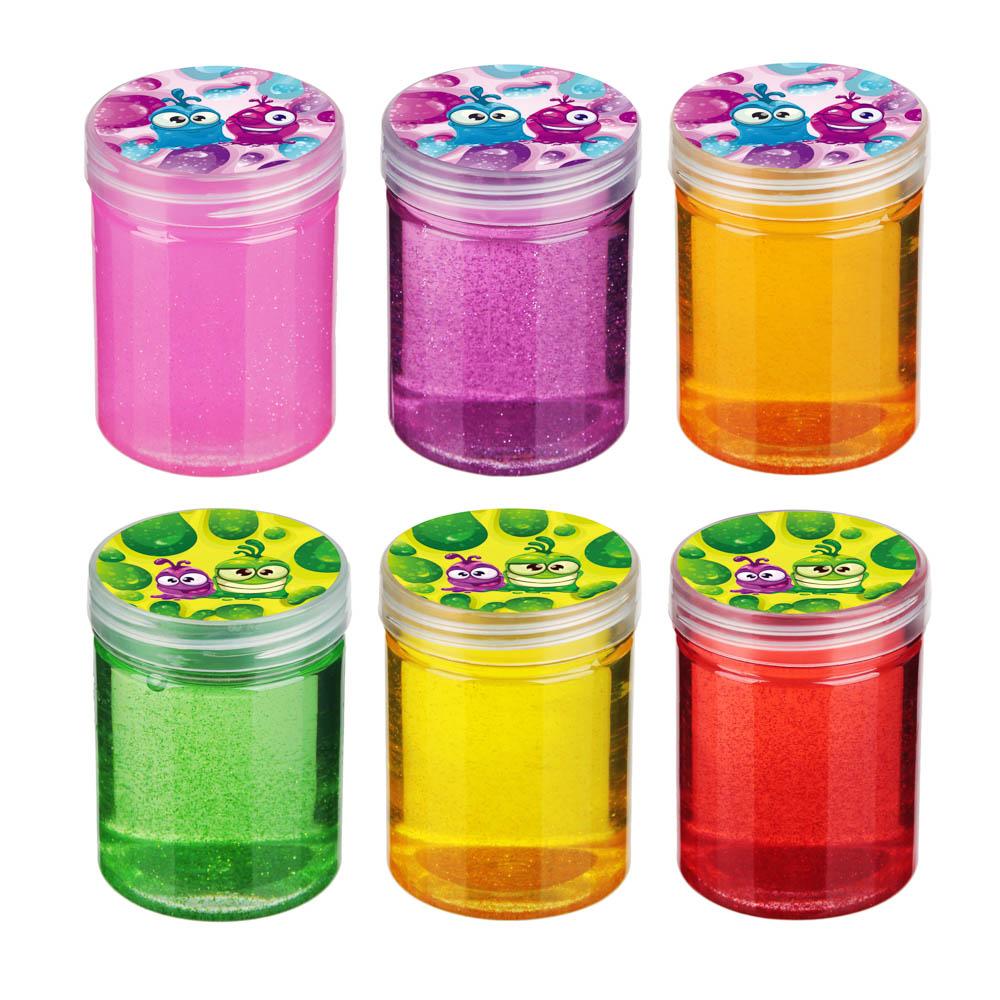 Слайм с блестками 130-140гр, 5,5х7,5см, полимер, 4-6 цветов