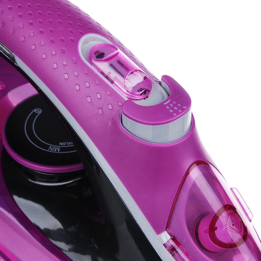 Утюг LEBEN LED 2200 Вт, подошва керамика, светодиодный индикатор нагрева, розовый/черный