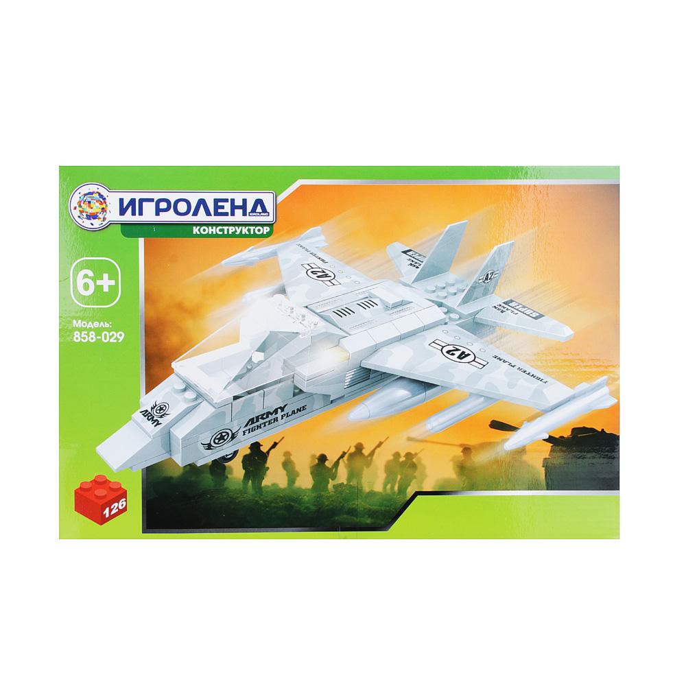 ИГРОЛЕНД Армия Конструктор Истребитель, 126дет., пластик, 30х20х5см