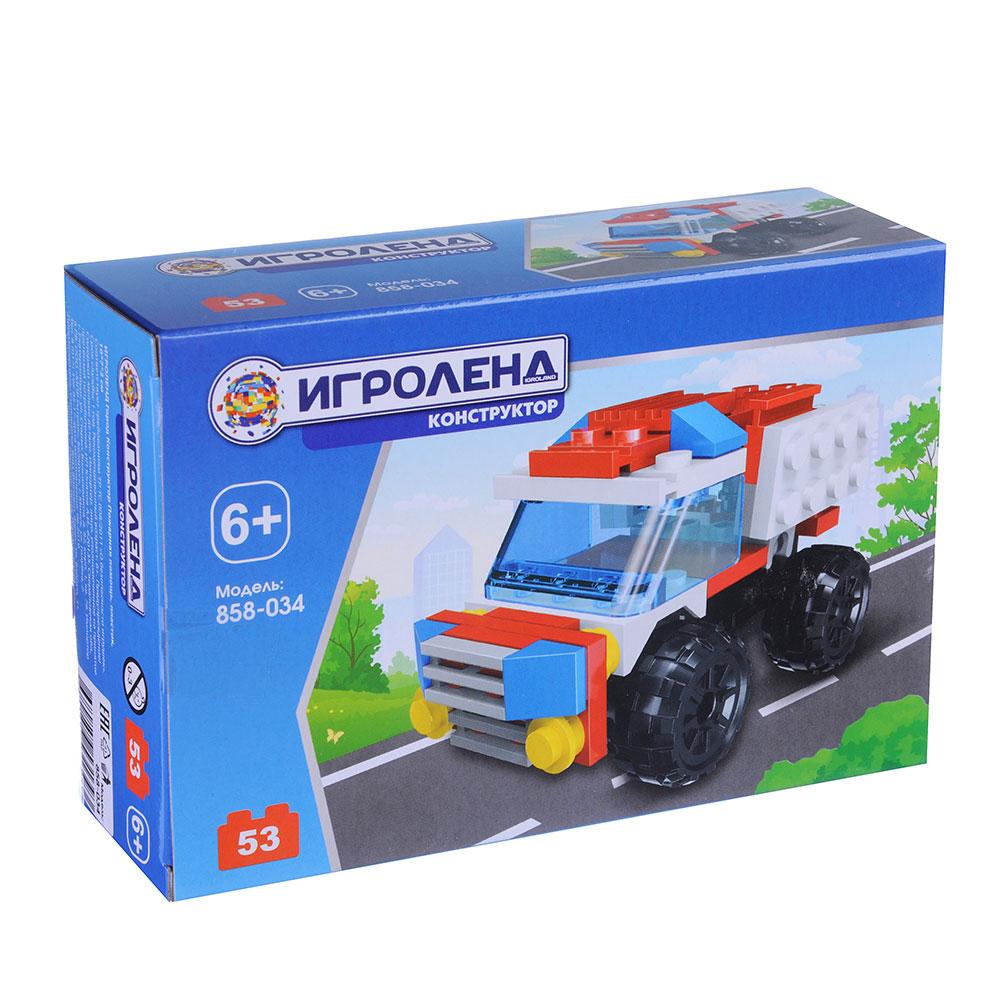 ИГРОЛЕНД Город Конструктор Пожарная помощь, 53дет., пластик, 10*7*3, 4 дизайна
