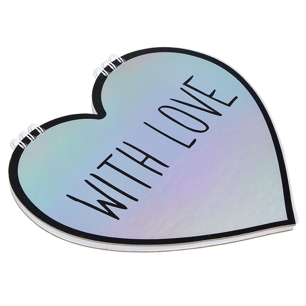Блокнот - валентинка в форме сердца 60 листов, 2 дизайна