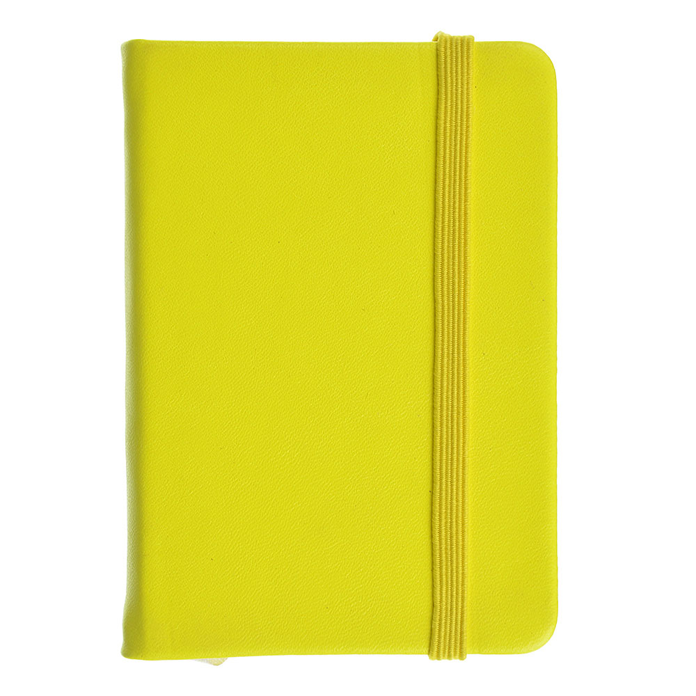 Записная книжка с резинкой, твёрдая. обложка 7,5х10,5см 80л. , клетка, 4 неоновых цвета