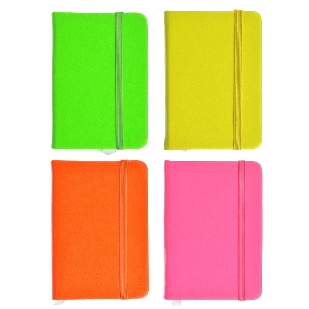 Записная книжка в клетку с резинкой, 80 л., твёрдая обложка, 4 неоновых цвета, 7,5х10,5 см