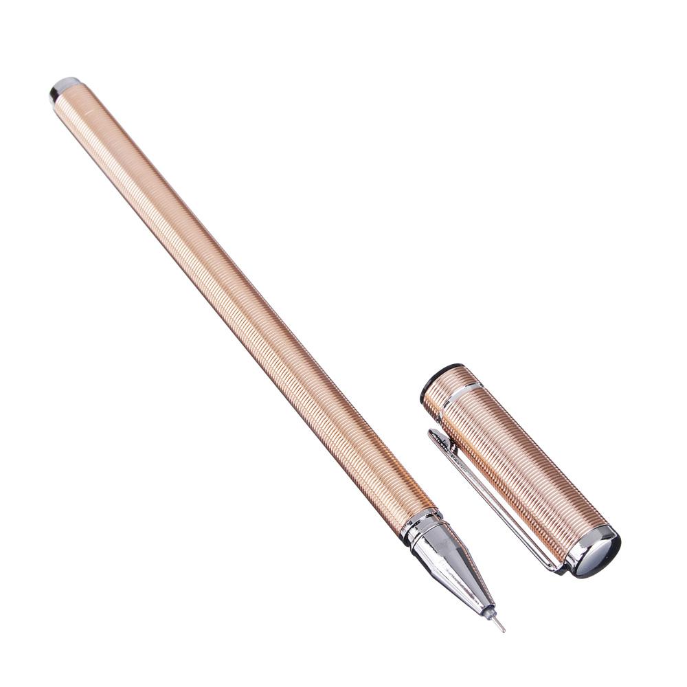 Ручка гелевая синяя, 4 цвета корпуса,15см, пластик