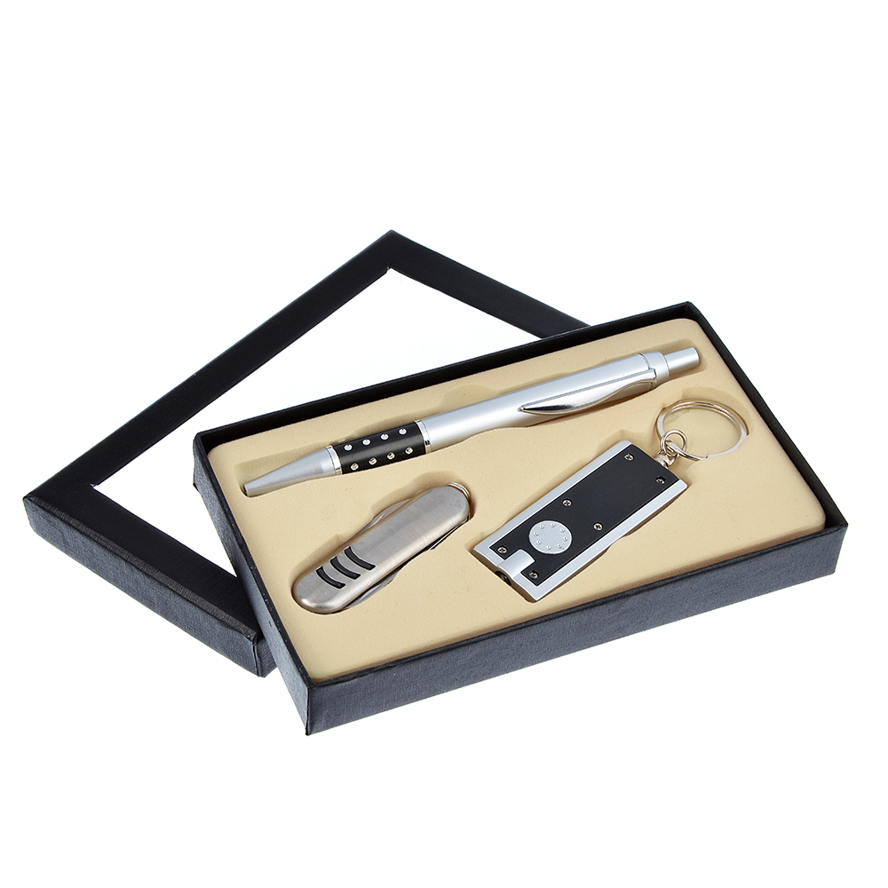 Набор 3 пр.: ручка шариковая синяя, фонарик, нож с ножницами, 15,8х9,4х2см, пл., металл,в подар.кор.