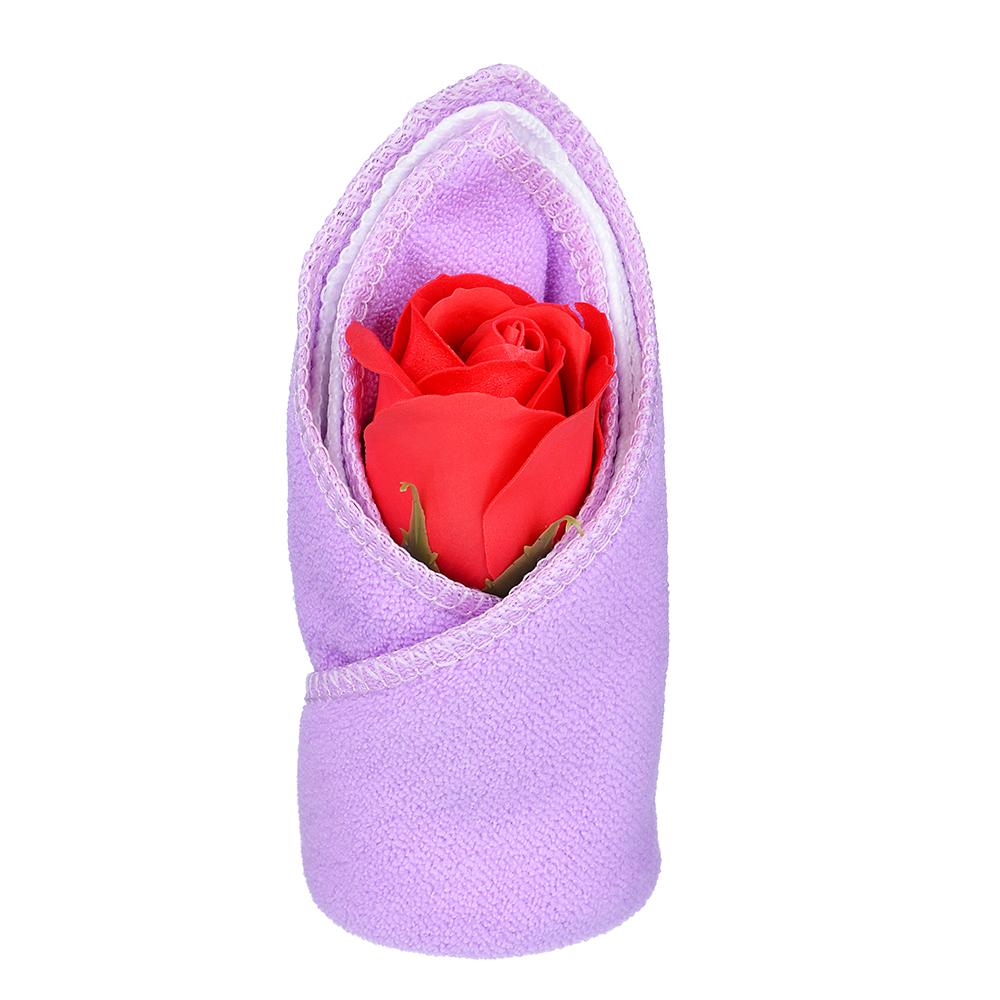 Салфетки подарочные с мыльной розой, 2 по 20х20 , микрофибра, 13х6х6 см, 6 цветов