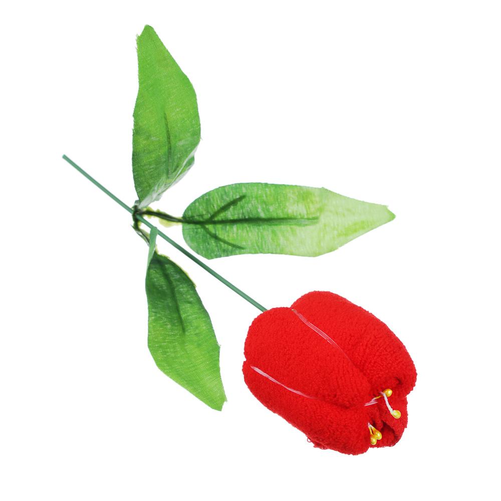 Салфетка подарочная в форме цветка, 20х20 микрофибра 23х6,5х4,5см, 4 цвета