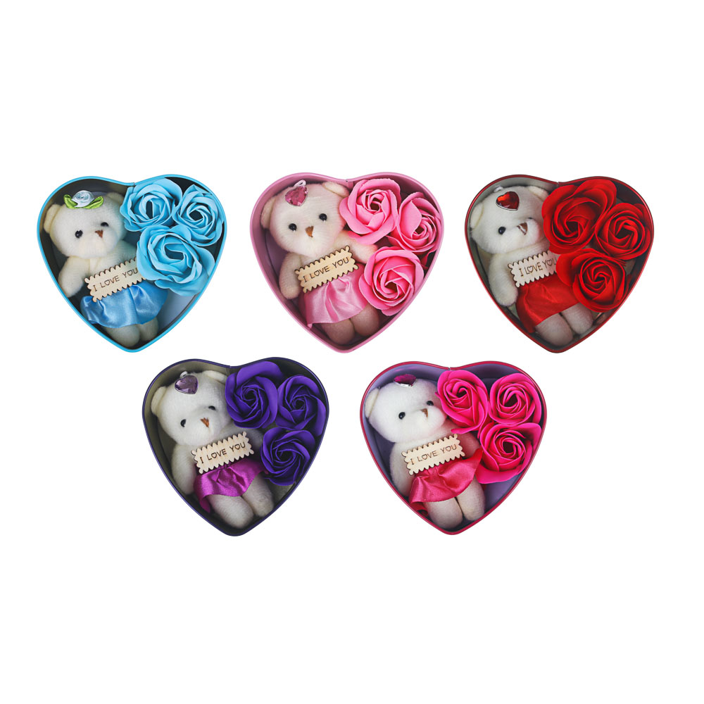 Набор мыльных лепестков с сувенирным мишкой, полиэстер, 9,3х12,4х4 см, 4 цвета.