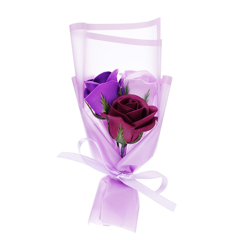Ароманабор из мыльных лепестков в виде букета из роз, 25,5х8х8 см, 4 цвета