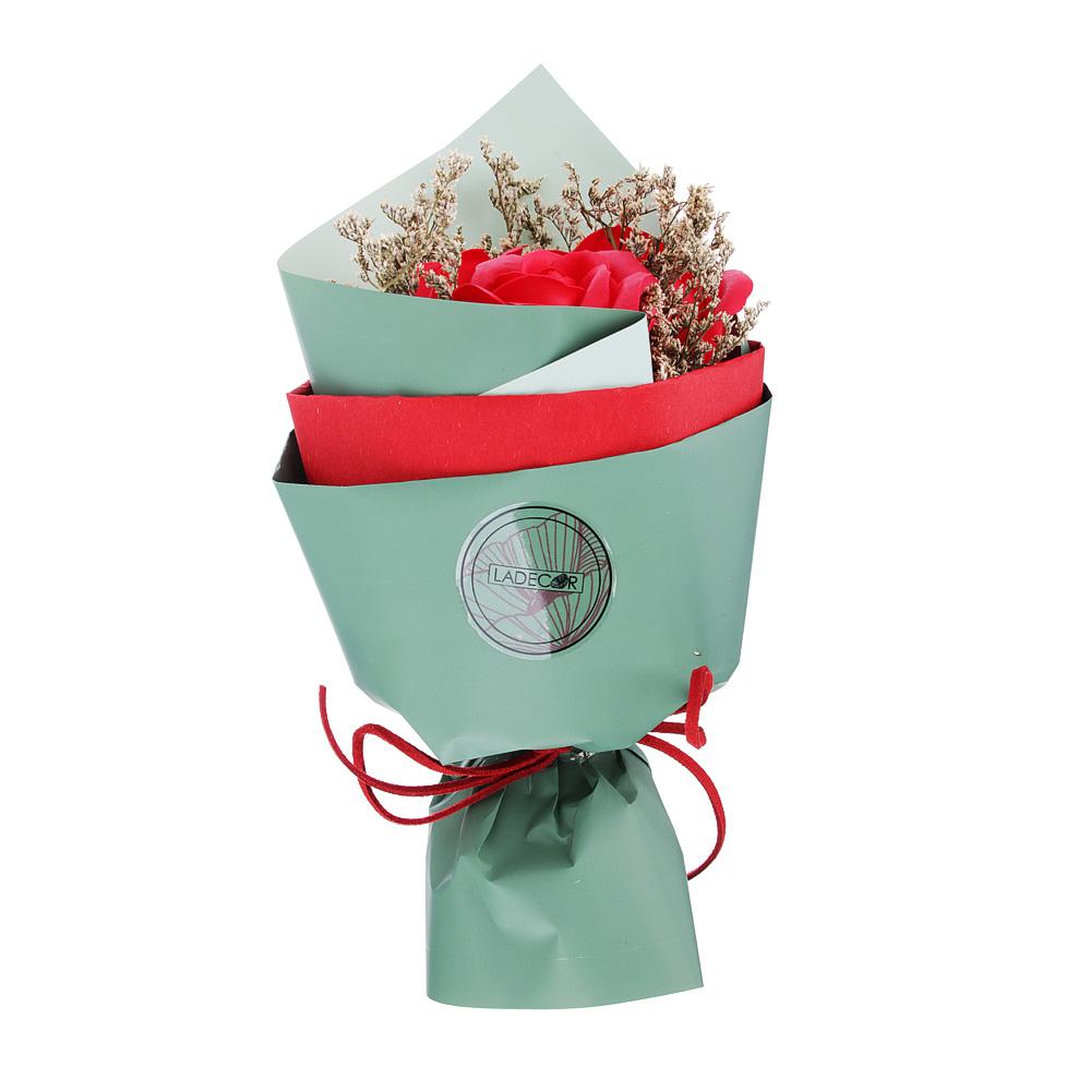 Ароманабор из мыльных лепестков в виде букета, 25х10х10 см, 4 цвета