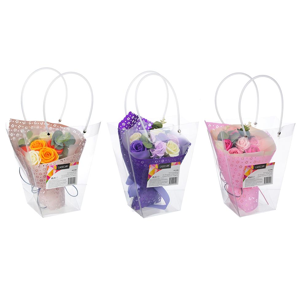 Ароманабор из мыльных лепестков в виде букета, 26х23,5х11 см, 3 цвета