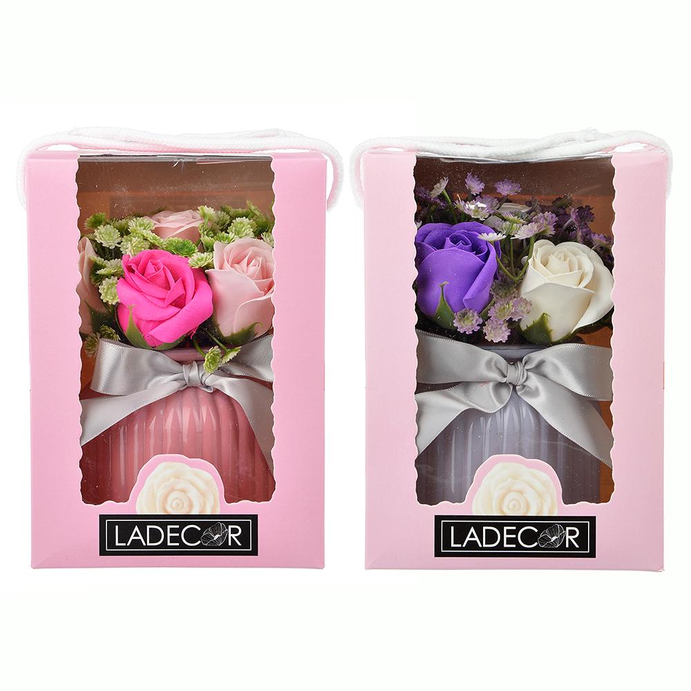 Ароманабор из мыльных лепестков в виде букета в вазочке, подар.коробка, 15х14,5х20 см, 2 цвета