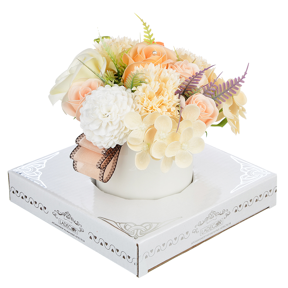 Ароманабор из мыльных лепестков в виде букета в вазочке, 3 цвета