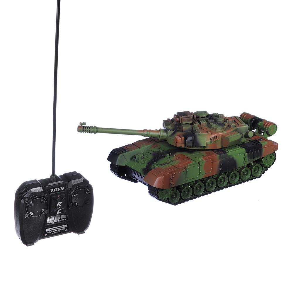 ИГРОЛЕНД Танк радиоуправляемый, движение, свет, звук, пластик, аккум в компл., 34,5х14,8х14,8см