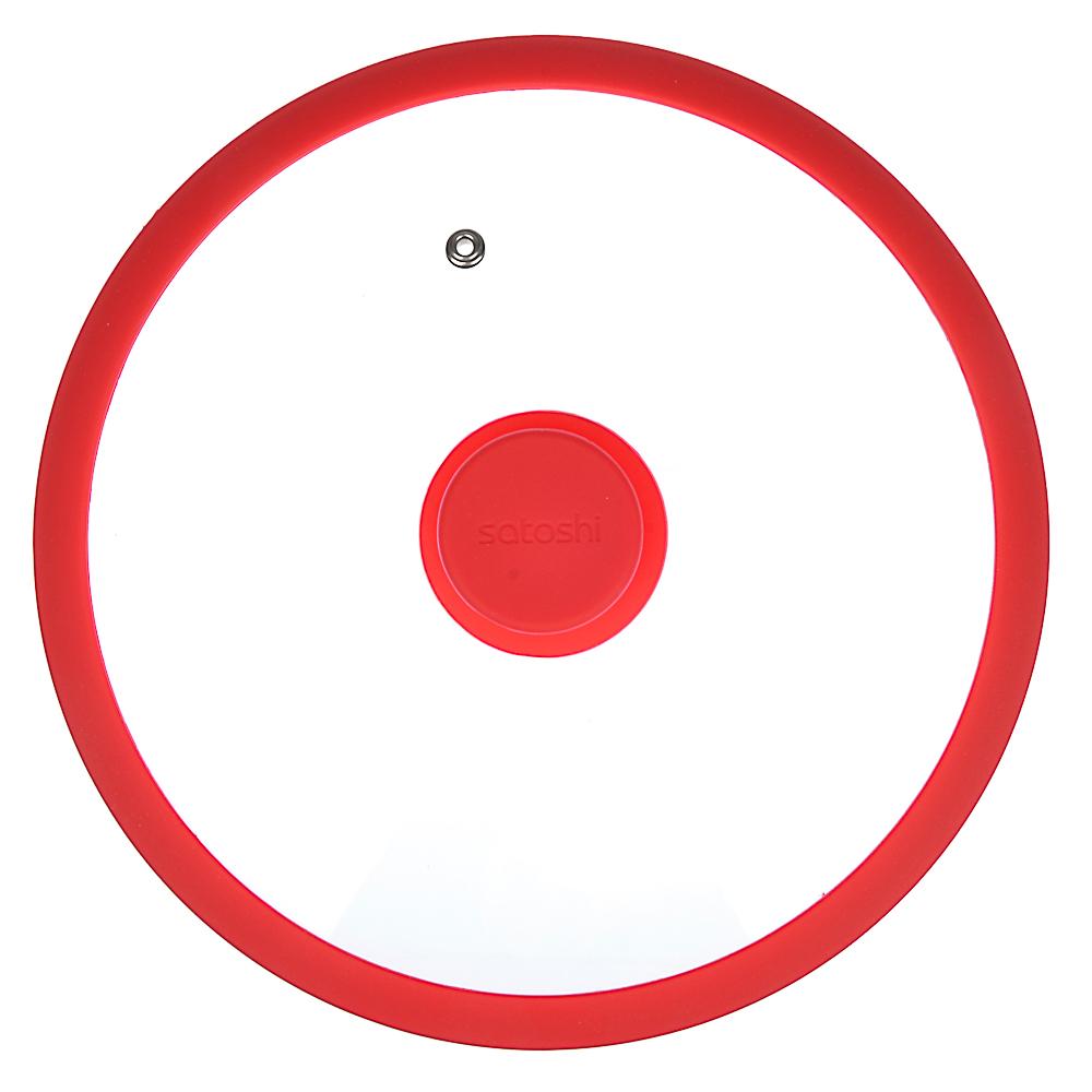Крышка для сковороды d. 24 см SATOSHI, стекло/силикон с ручкой, 3 цвета