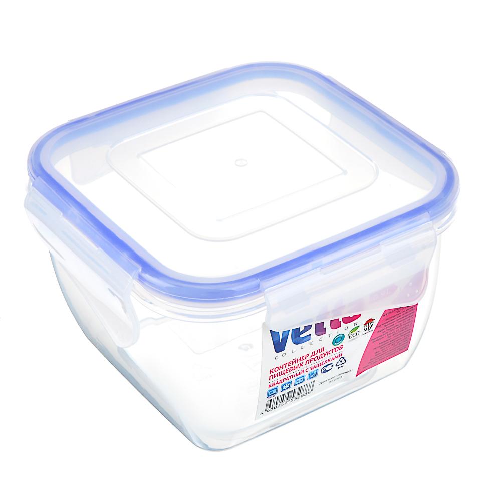 VETTA Контейнер для СВЧ пластик, квадратный с защелками, 0,9л, V167052