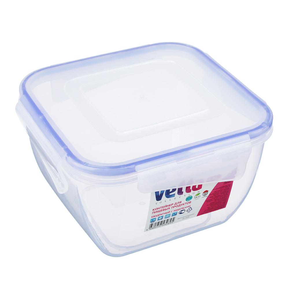 Контейнер пищевой 1,5 л для СВЧ, крышка с защелками, VETTA