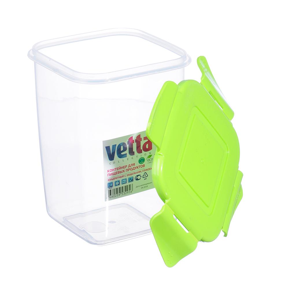 Контейнер глубокий 1 л для СВЧ пластик, квадратный с защелками, VETTA