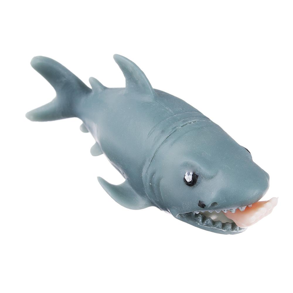 Мялка-антистресс в виде акулы с ногой в пасти, резина, 12см, 1 дизайн