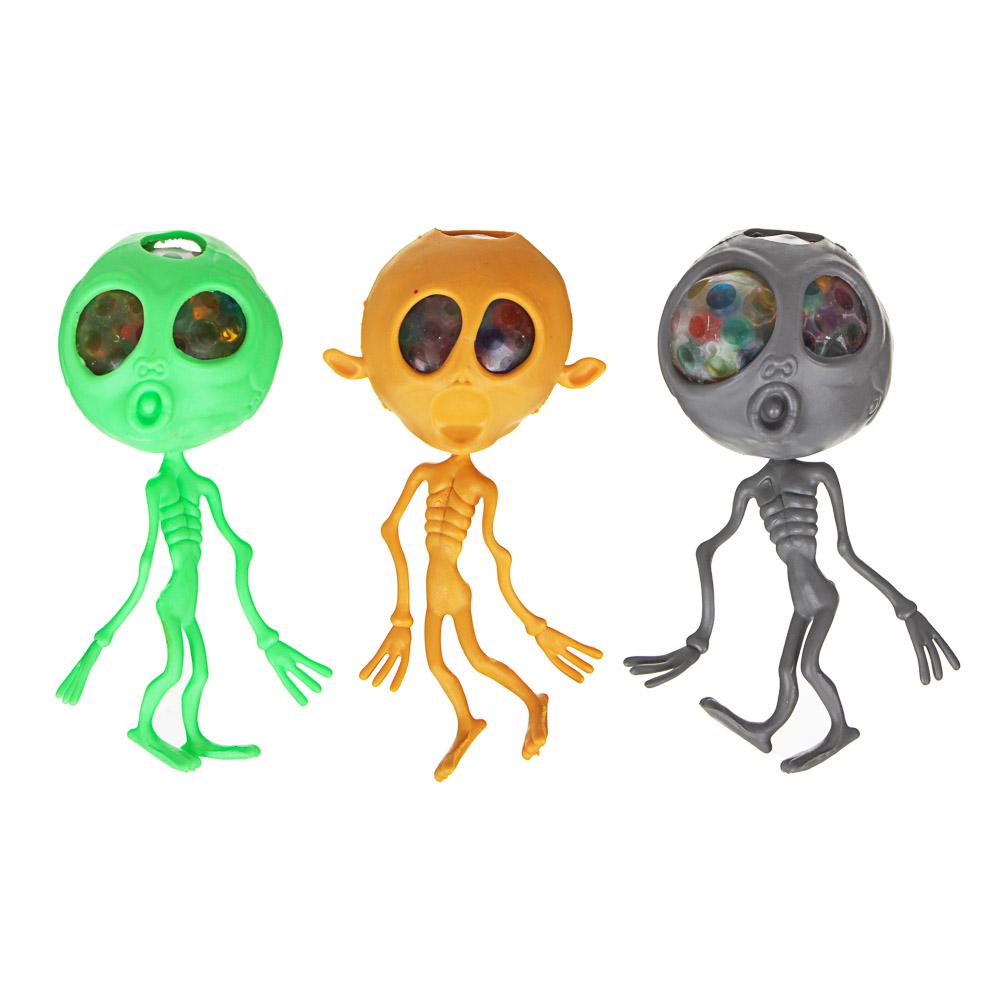 Мялка в виде пришельца, резина, 15см, 3 дизайна