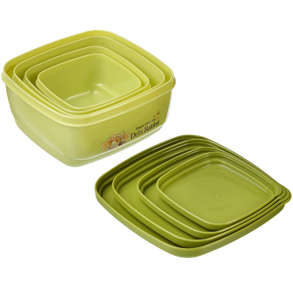 "Набор контейнеров с крышками 4шт, квадратный (530 мл, 380 мл, 220 мл, 130 мл) пластик, ""Зайчата"""