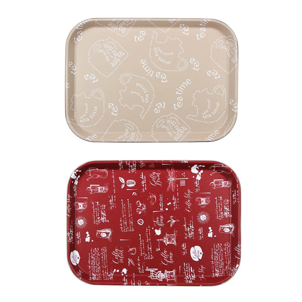 Поднос прямоугольный с антискользящим покрытием, ПВХ, пластик 35х25см, 2 дизайна
