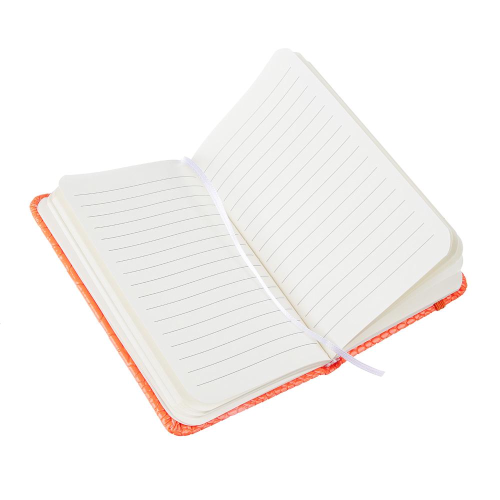 Записная книжка 9х14 см, 80 л., тв.обложка, клетка, ПУ под кожу рептилии, бумага, 4 неоновых цвета