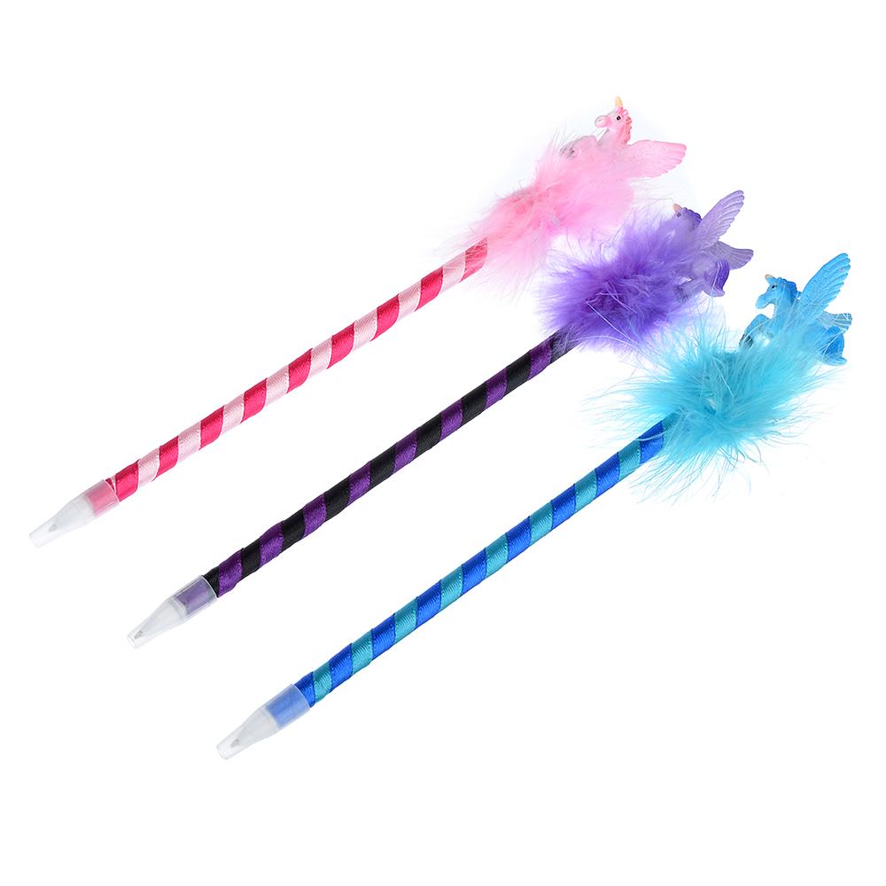 Ручка шариковая синяя, с фигуркой единорога, 0,7мм, корпус обтянут тканью, пластик, 3 цвета