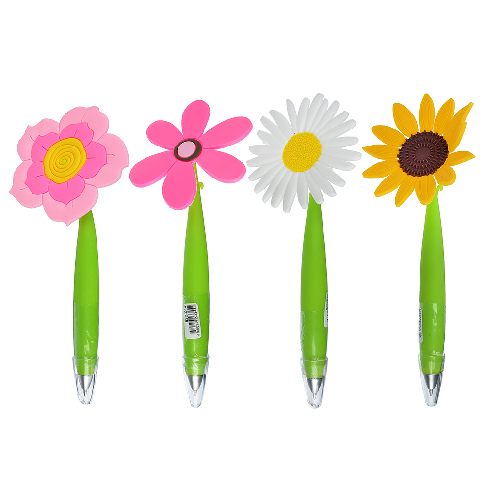 """Ручка шариковая синяя """"Цветочный микс"""", 0,7мм, пластик, каучук, 4 дизайна"""