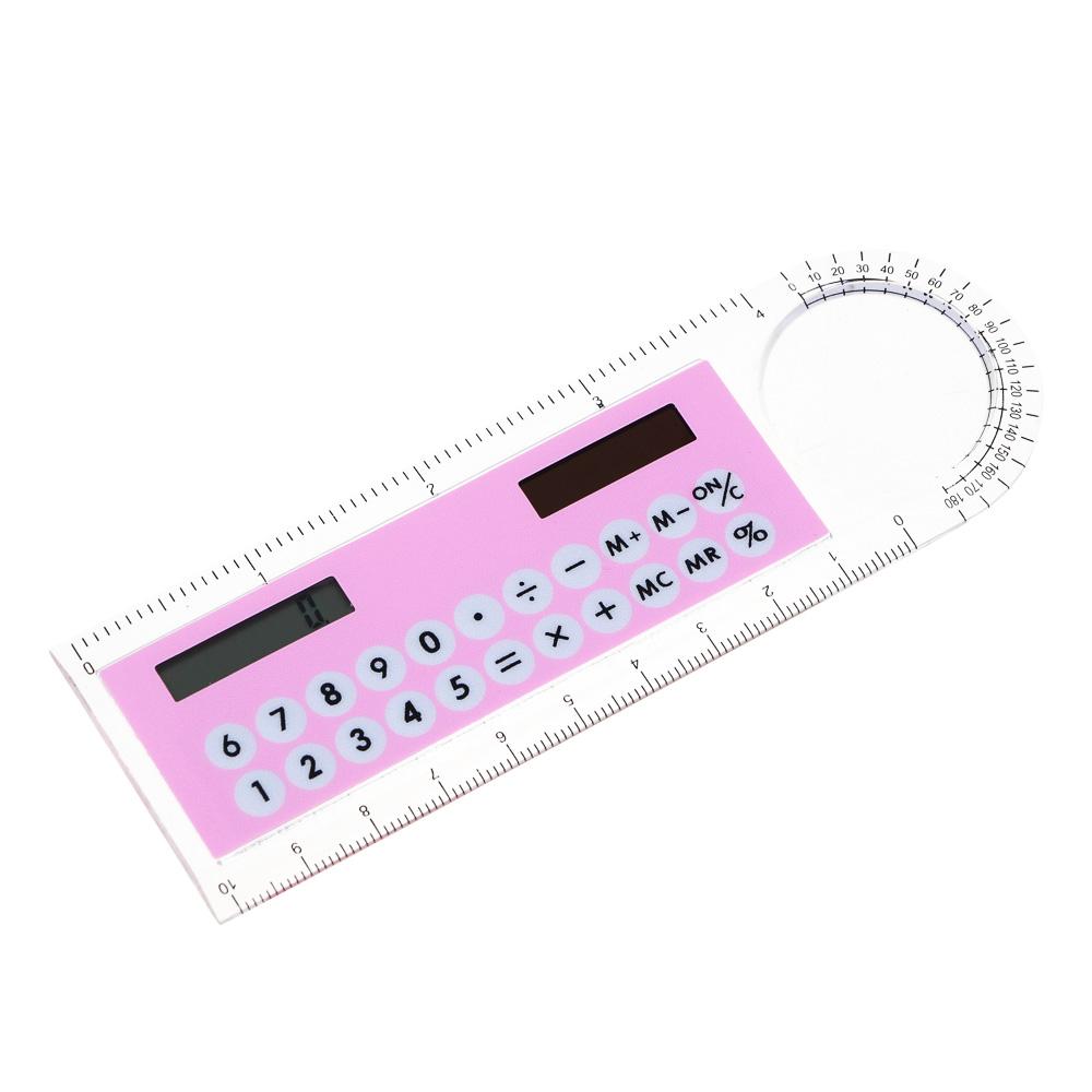 Калькулятор-линейка 8-разр.с лупой и транспортиром, солн.питание, 4,5х13,3см, 4 цвета