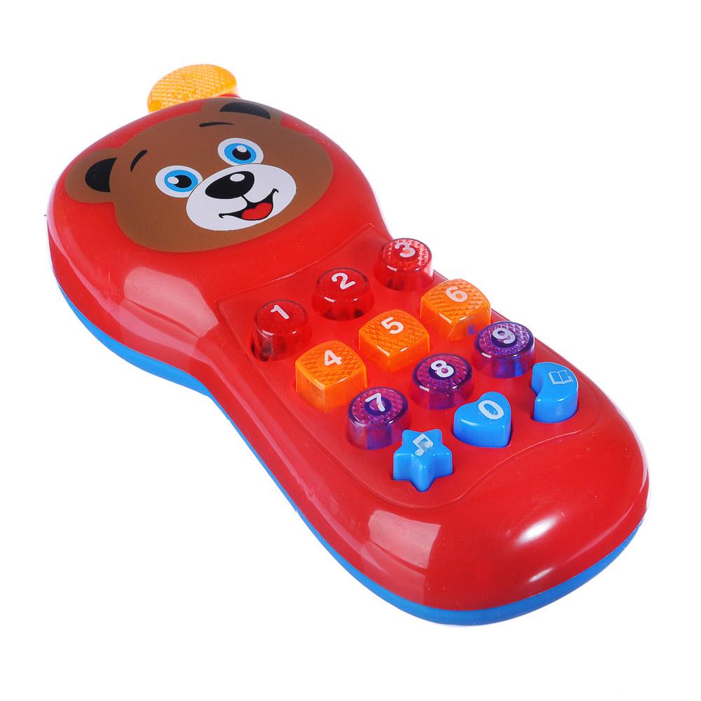 ИГРОЛЕНД Игрушка электронная телефон обучающий, свет, звук, полимер, пит. 2АА, 17,8х7,3х3,5см