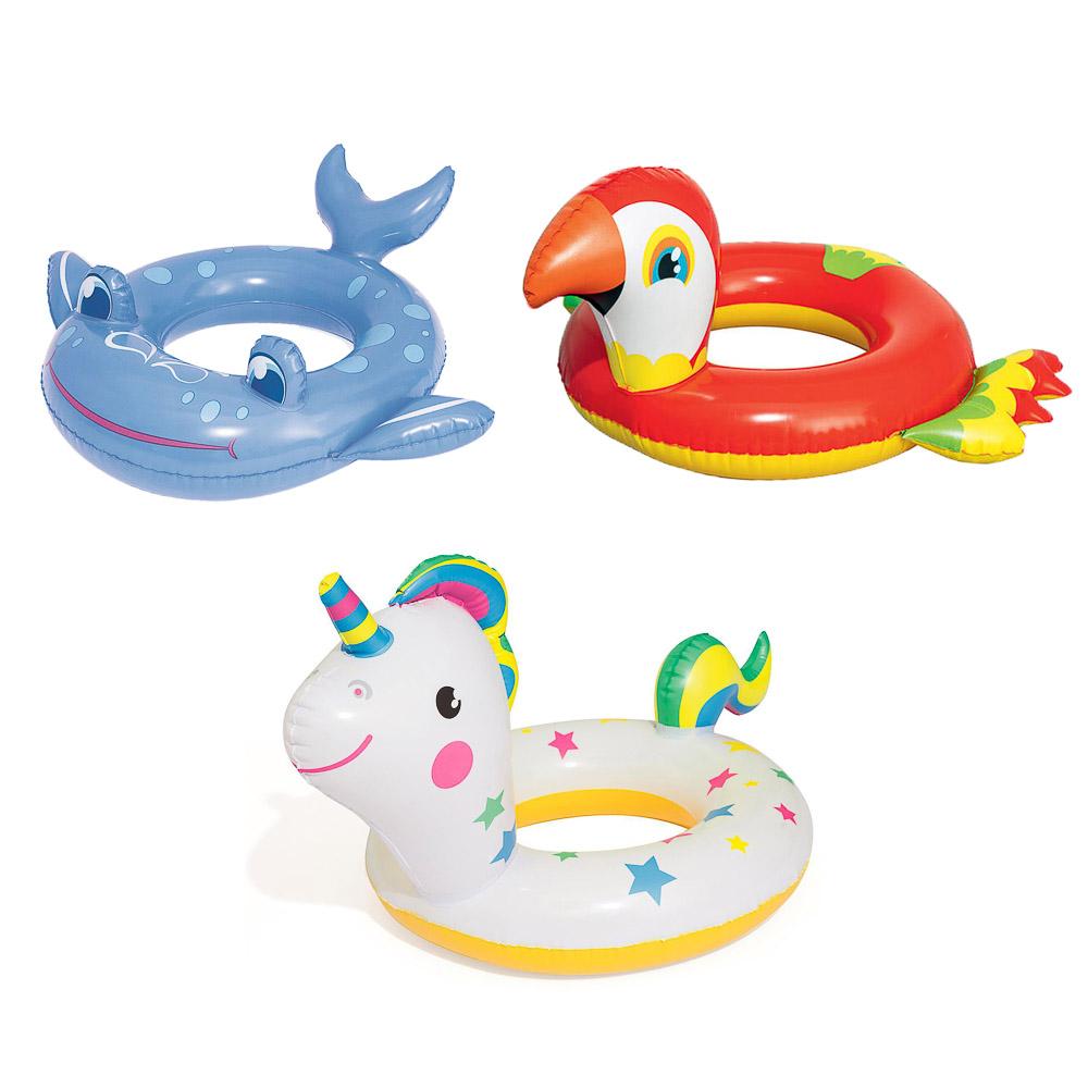 BESTWAY Круг для плавания, взр. 3-6 (кит, попугай, единорог),36128,36128