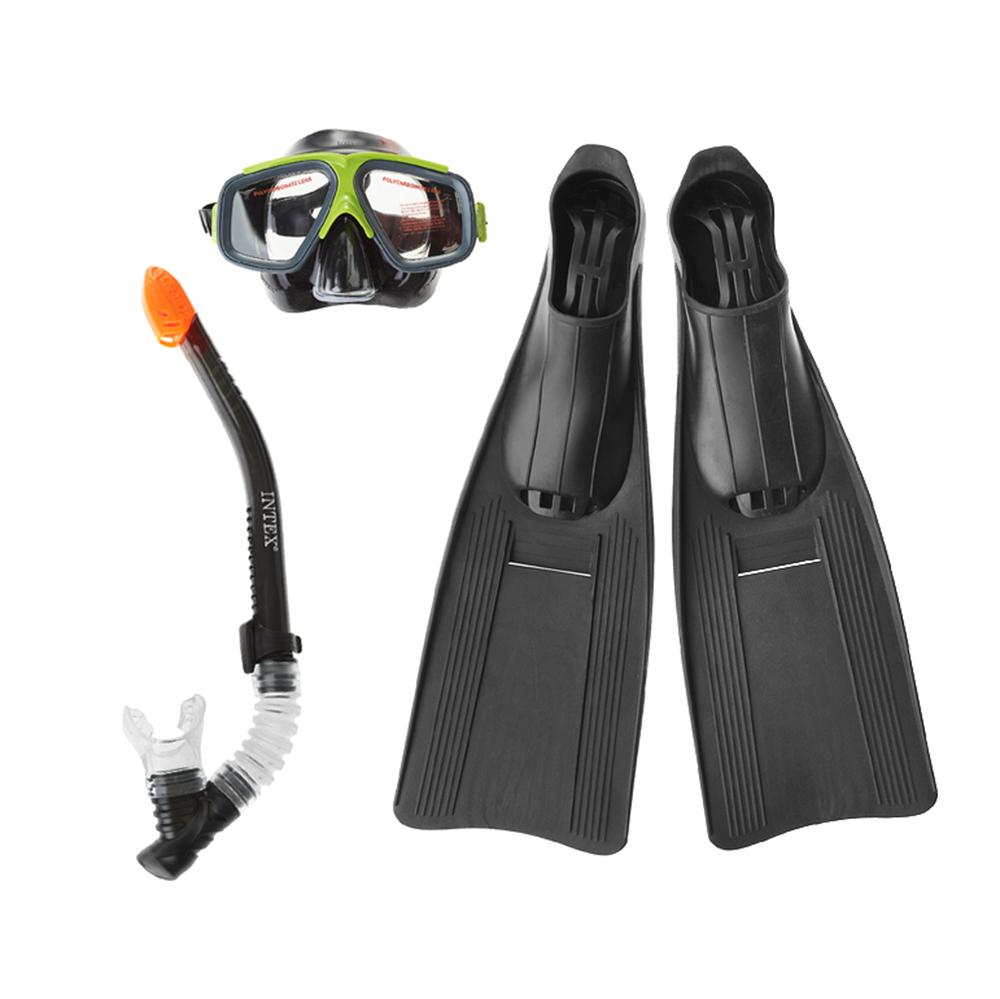 Набор для плавания: маска, трубка, ласты, возраст от 14 лет, INTEX, 55657