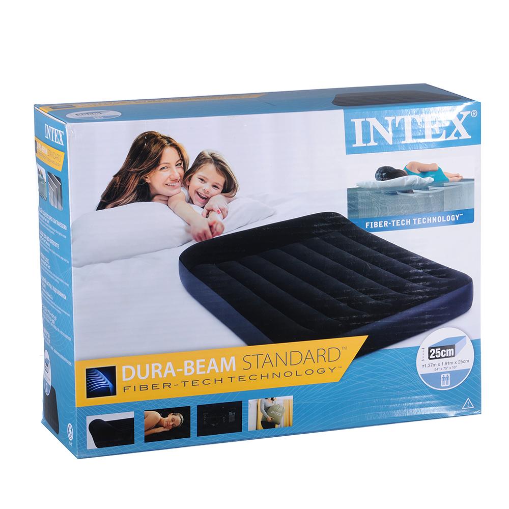 Матрас надувной INTEX  FIBER-TECH 1,37x1,91x0,25м, встроенный электронасос, 64148