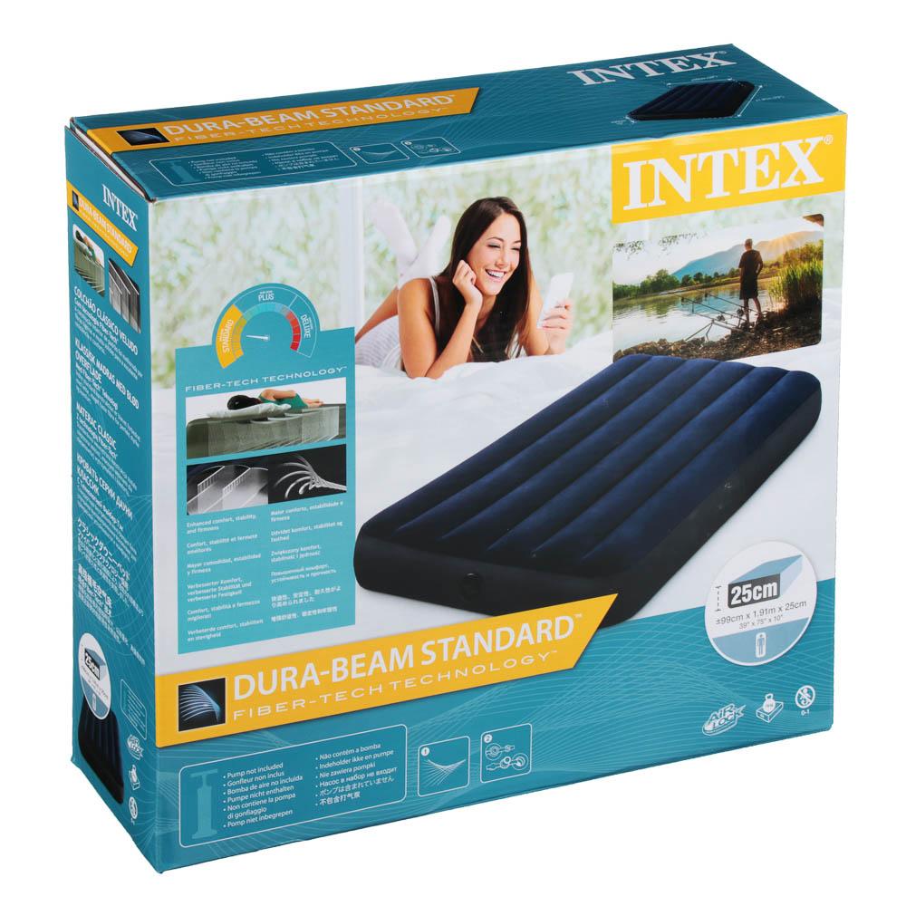 """Кровать надувная, FIBER-TECH, 99х191х25 см, INTEX """"Classic downy Твин"""", 64757"""