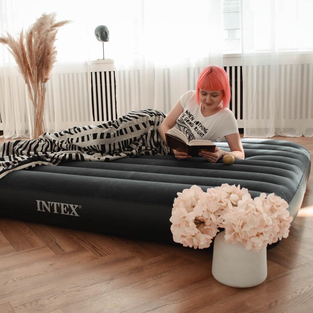 """Кровать надувная, FIBER-TECH, 152х203х25 см, INTEX """"Classic downy Квин"""", 64759"""
