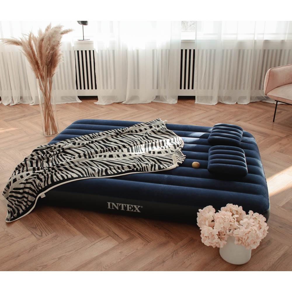 """Кровать надувная, ручной насос, 2 подушки, FIBER-TECH, 152х203х25 см, INTEX """"Classic downy Квин"""", 64"""