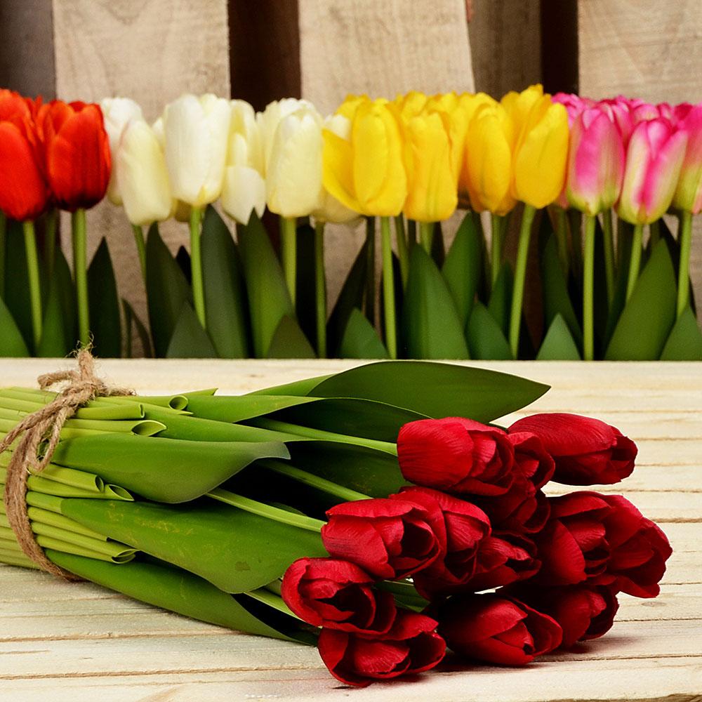 Цветок искусственный декоративный в виде тюльпанов, 37х7 см, пластик, 5 цветов