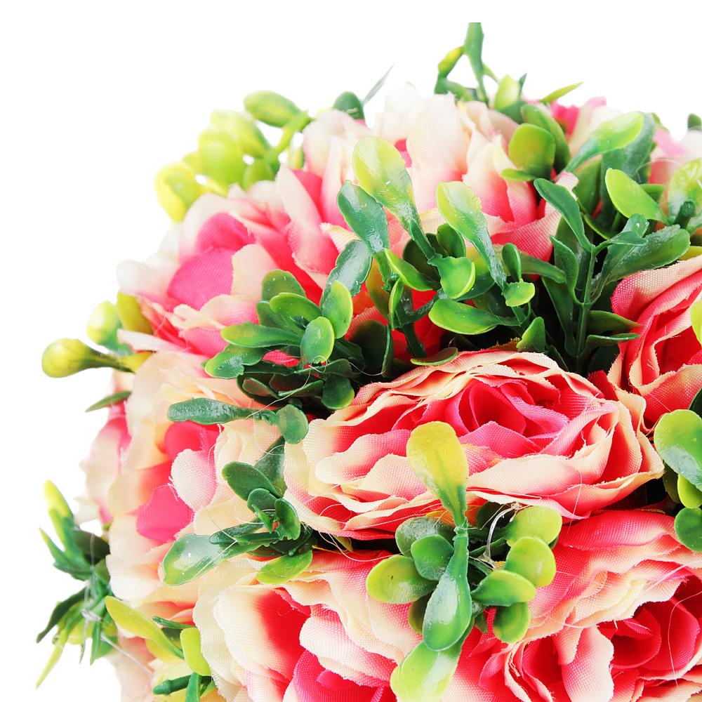 Цветок искусственный декоративный в горшке, в виде розы, 23,5х11х11 см, пластик, керамика, 3 цвета