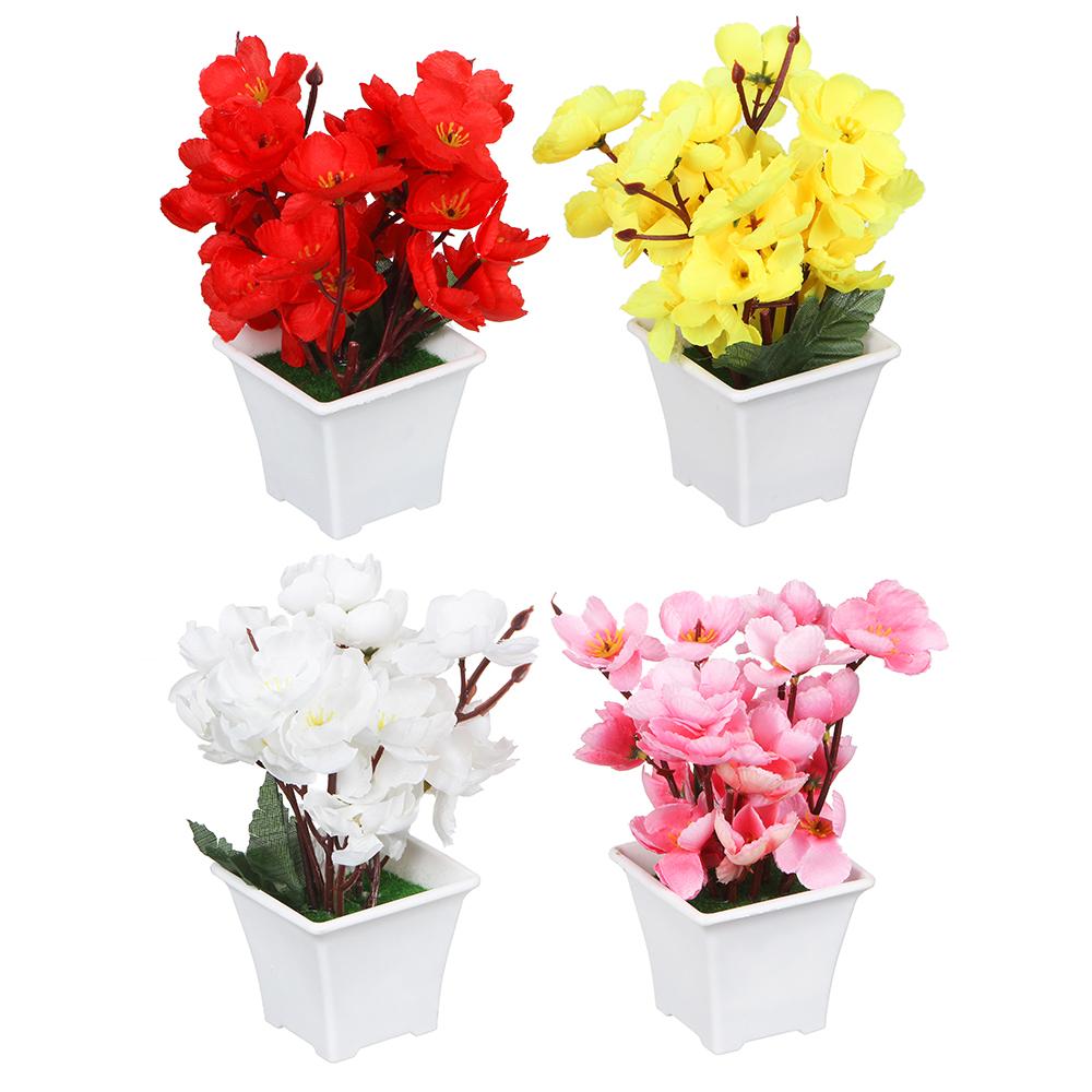 Цветок искусственный декоративный в горшке, 17х8х8 см, пластик, 4 цвета