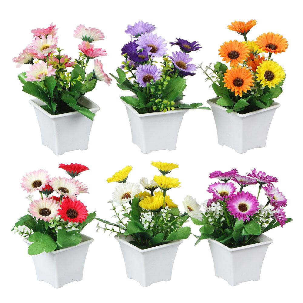Цветок искусственный декоративный в горшке в виде маргариток, 17х8х8 см, пластик, 4 цвета