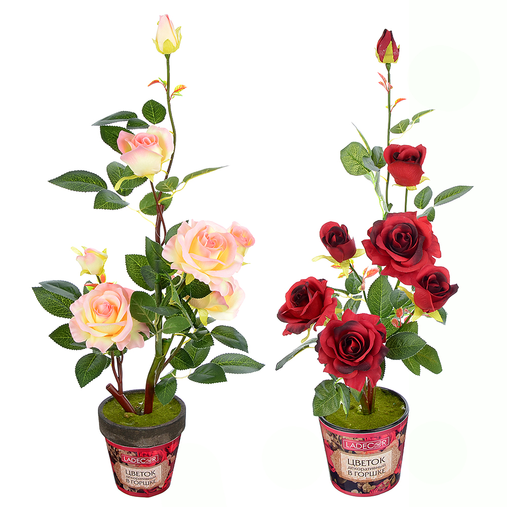 LADECOR Цветок искусственный декоративный в горшке в виде роз, 63х11,5см, пластик,керамика, 2цвета
