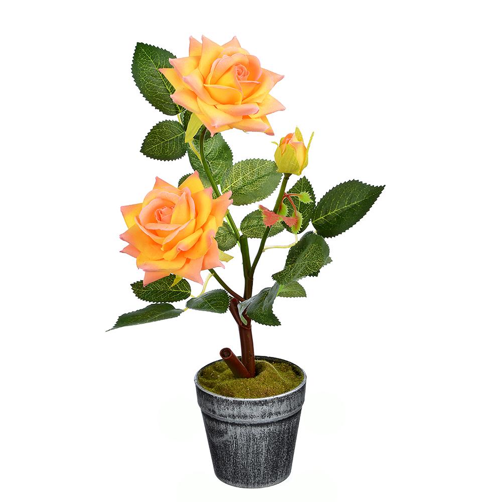 LADECOR Цветок искусственный декоративный в горшке в виде роз, 35х8 см, пластик, керамика, 6 цветов