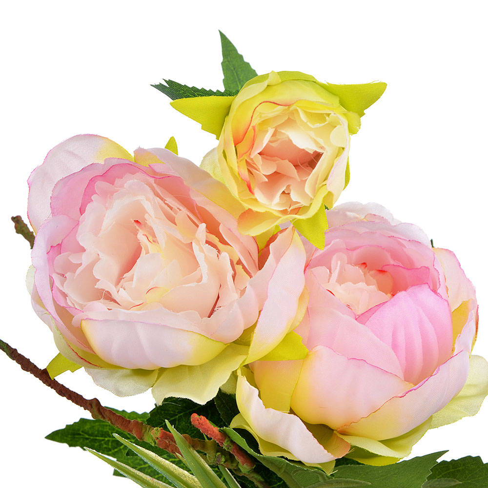 LADECOR Цветок искусственный декоративный в горшке в виде пиона, пластик, керамика, 34х8 см, 4 цвета