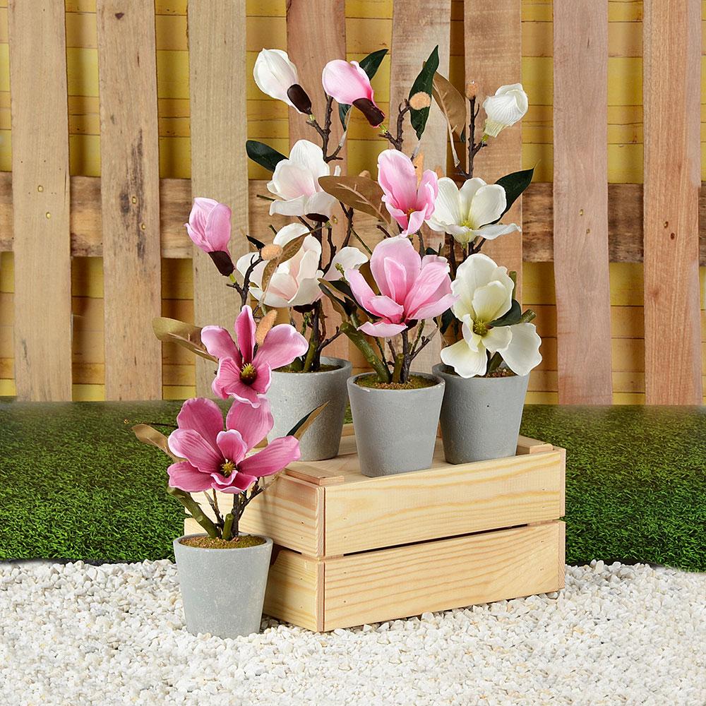 LADECOR Цветок искусственный декоративный в горшке, 40х10 см, пластик, керамика, 4 цвета