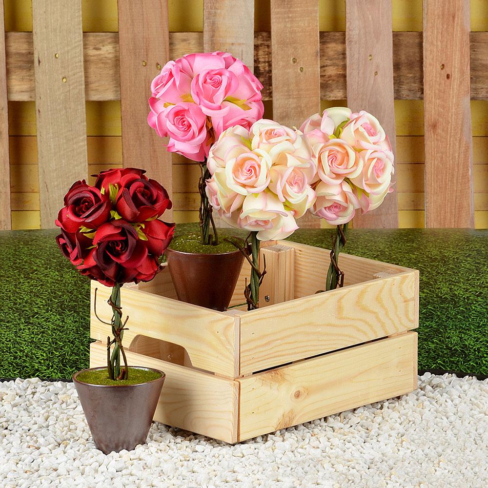 Цветок искусственный декоративный в горшке в виде розы, пластик, керамика, 31х10 см, 4 цвета