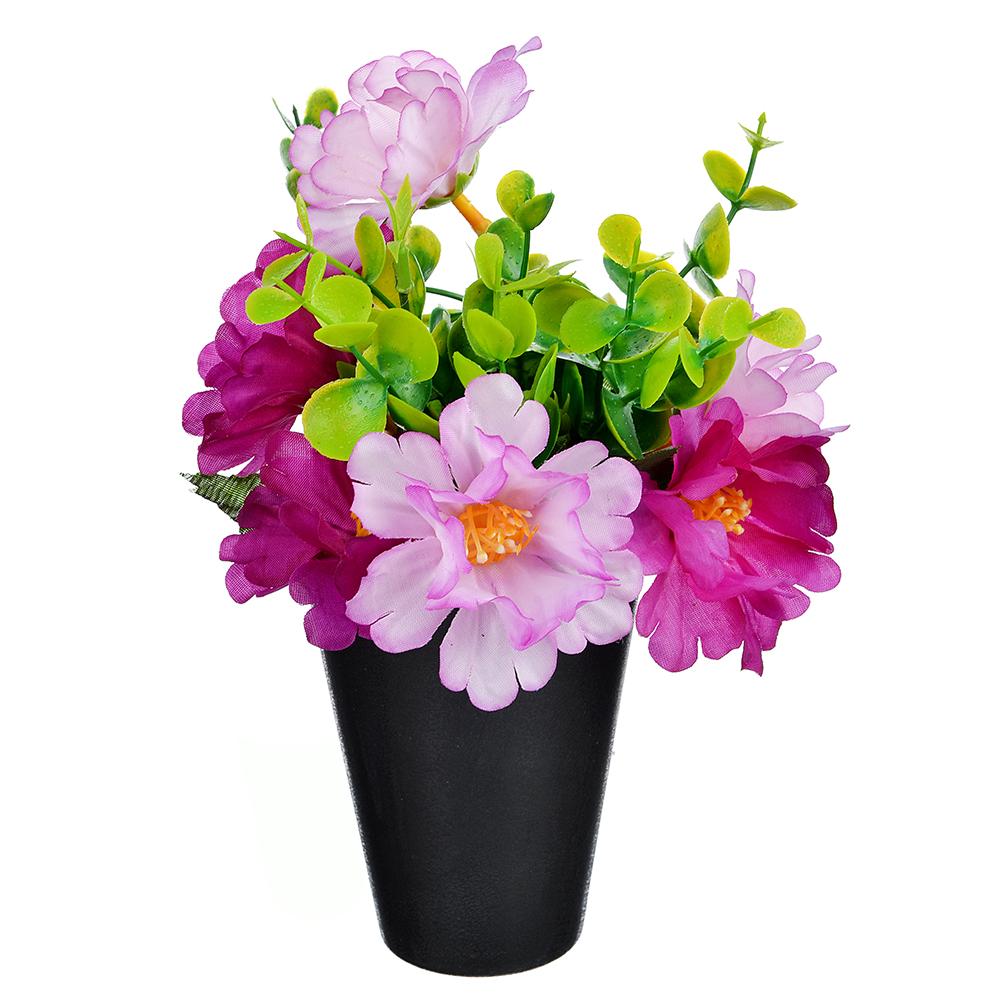 LADECOR Цветок искусственный декоративный в горшке, пластик, 22х8 см, 3 цвета