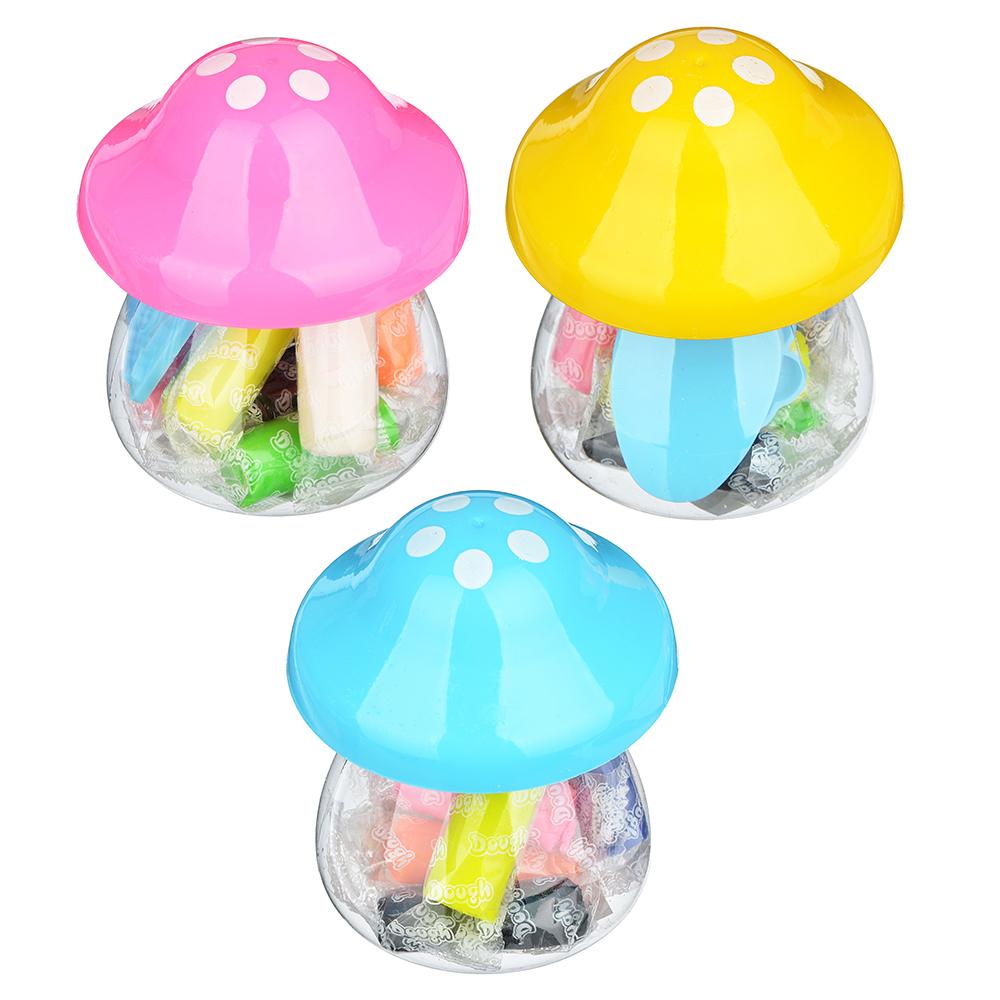 """ХОББИХИТ Тесто для лепки """"Грибочек"""", в наборе 7 цветов, 3 формы, тесто, пластик, 7х9,8х7см, 3 цвета"""