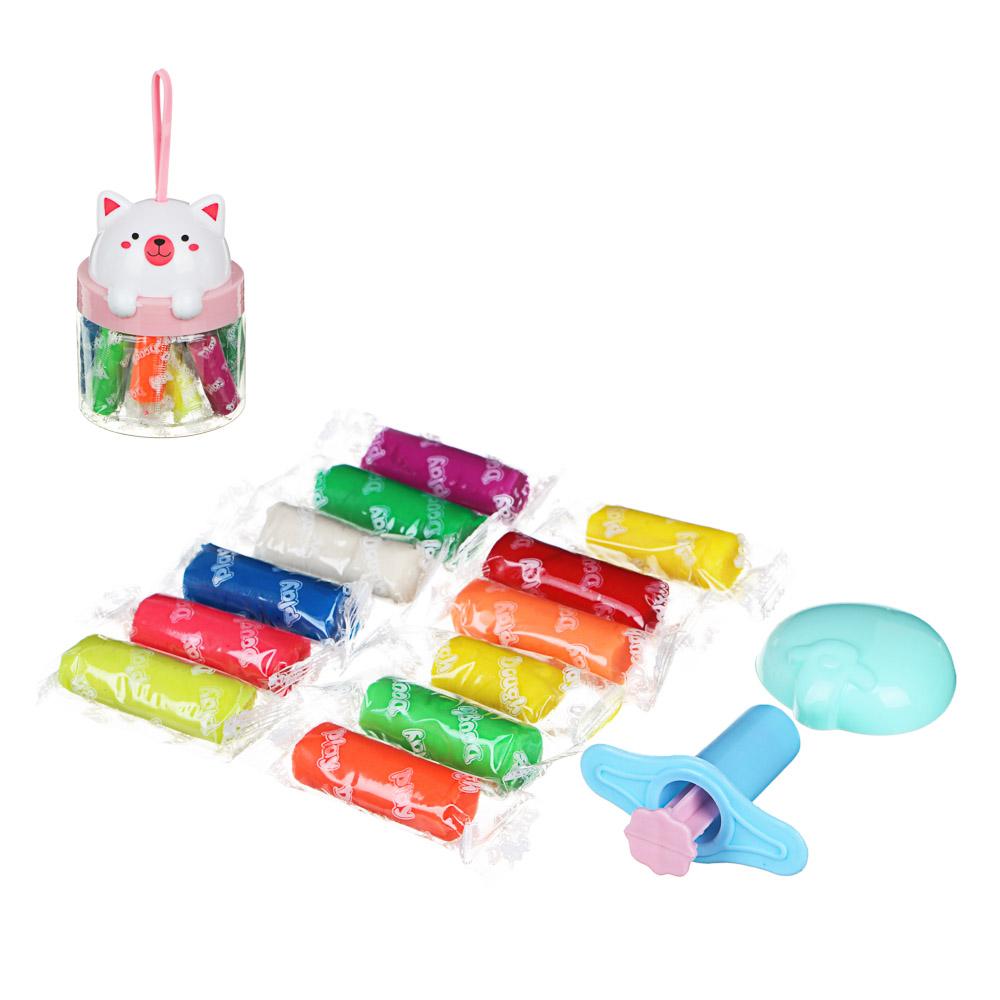 "ХОББИХИТ Тесто для лепки ""Машинка"",в наборе 10 цветов, 4 формы,тесто, пласт.,7,5х12,5см, 2 цвета"