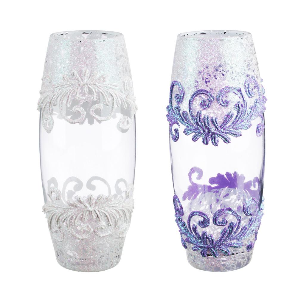PASABAHCE Ваза стеклянная, ручная роспись, с узорами, 25х11 см, 2 дизайна